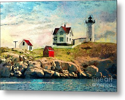 Nubble Light - Painted Metal Print by Gene Healy