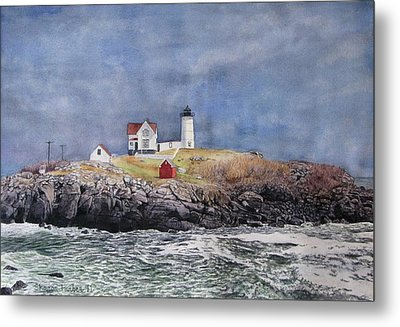 Nubble Lighthouse Metal Print by Sharon Farber