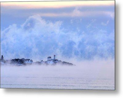 Nubble Lighthouse Sunrise With Sea Smoke - York, Maine Metal Print by Joann Vitali