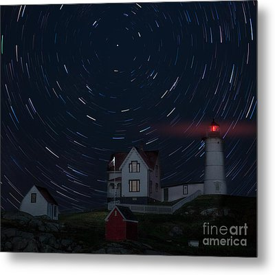 Nubble Startrails Metal Print by Jerry Fornarotto