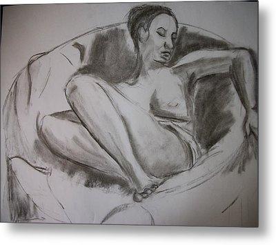 Nude In Chair Metal Print by Adam Davis