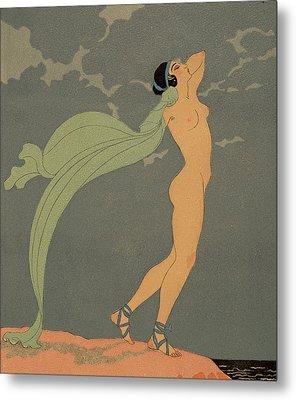 Nude   Le Silence De Mnasidika Metal Print by Georges Barbier