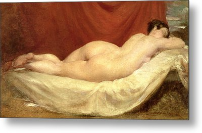 Nude Lying On A Sofa Against A Red Curtain Metal Print by William Etty