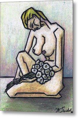 Nude With White Flowers Metal Print by Kamil Swiatek
