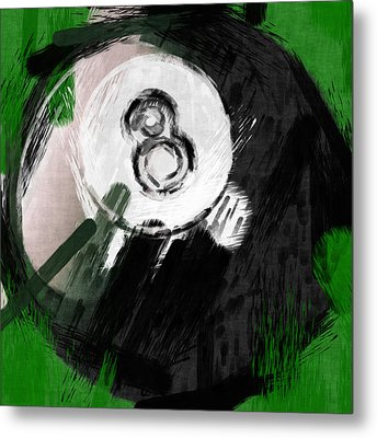 Number Eight Billiards Ball Abstract Metal Print by David G Paul