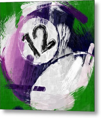 Number Twelve Billiards Ball Abstract Metal Print by David G Paul