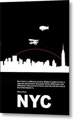Nyc Night Poster Metal Print by Naxart Studio