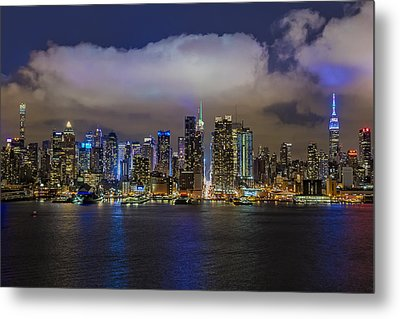 Nyc Skyline At Night Metal Print by Susan Candelario
