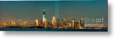 Nyc Tribute In Light Skyline Panorama I Metal Print by Clarence Holmes