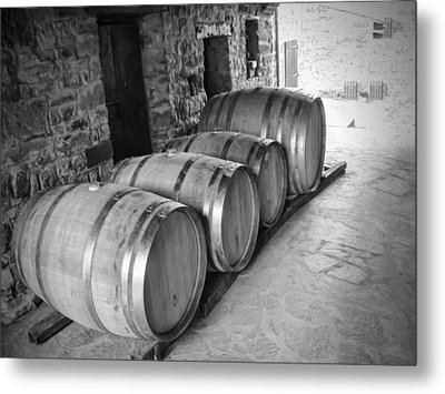 Oaking Wine Bw Metal Print by Phyllis Taylor