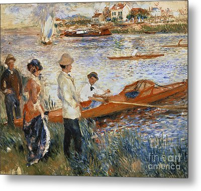 Oarsmen At Chatou Metal Print by Pierre Auguste Renoir