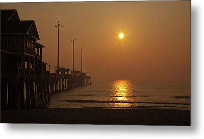 Ocean Dawn Wind Turbines Metal Print by Daniel Lowe