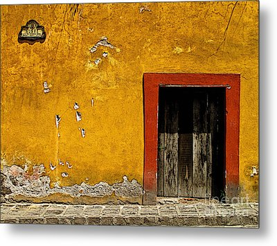 Ochre Wall With Red Door Metal Print by Mexicolors Art Photography