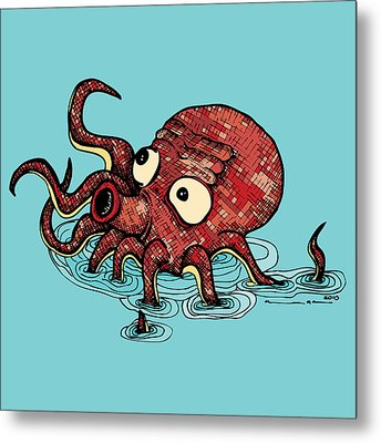Octopus - Color Metal Print by Karl Addison