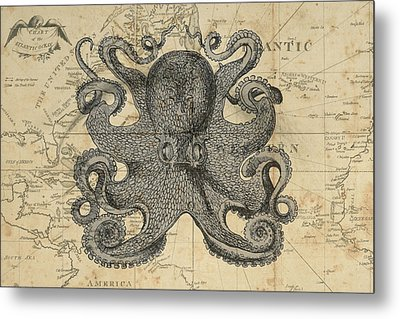 Octopus Sea Chart Metal Print by Erin Cadigan
