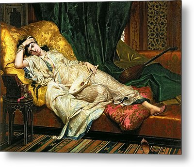 Odalisque With A Lute Metal Print by Hippolyte Berteaux