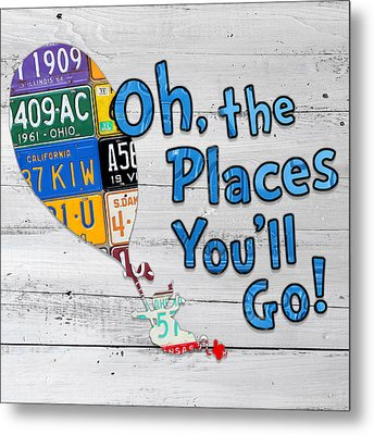 Oh The Places Youll Go Dr Seuss Inspired Recycled Vintage License Plate Art On Wood Metal Print by Design Turnpike