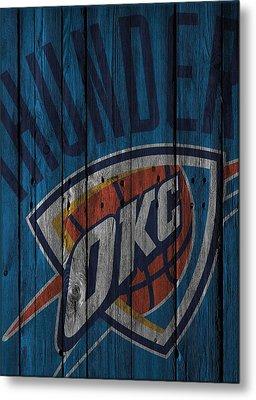 Oklahoma City Thunder Wood Fence Metal Print by Joe Hamilton