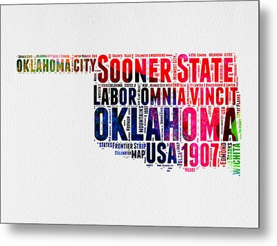 Oklahoma Watercolor Word Cloud  Metal Print by Naxart Studio