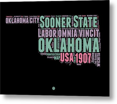 Oklahoma Word Cloud 1 Metal Print by Naxart Studio