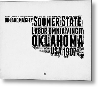 Oklahoma Word Cloud 2 Metal Print by Naxart Studio