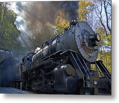 Old 734 Locomotive Train On The Western Maryland Scenic Railroad Metal Print by Brendan Reals