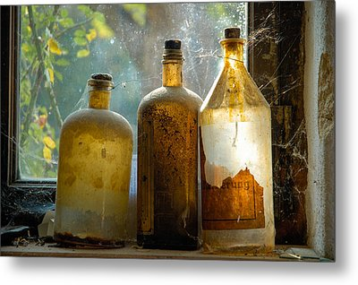 Old And Dusty Glass Bottles Metal Print by Matthias Hauser