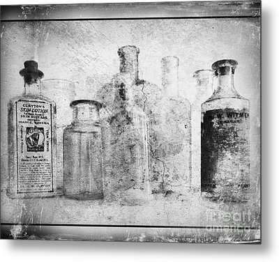 Old Bottles With Texture  Bw Metal Print by Barbara Henry