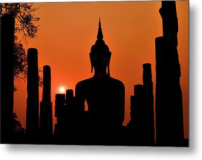 Old Buddha Silhouette In Sukhothai Historical Park Metal Print by Alexandre MOREAU