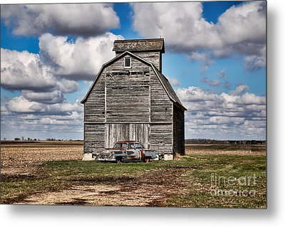 Old Car And Barn Metal Print by Scott Nelson