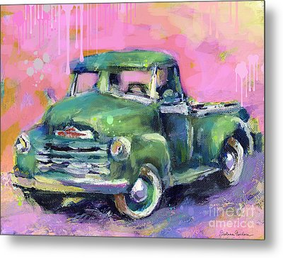 Old Chevy Chevrolet Pickup Truck On A Street Metal Print by Svetlana Novikova