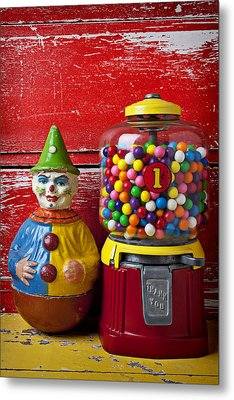 Old Clown Toy And Gum Machine  Metal Print by Garry Gay