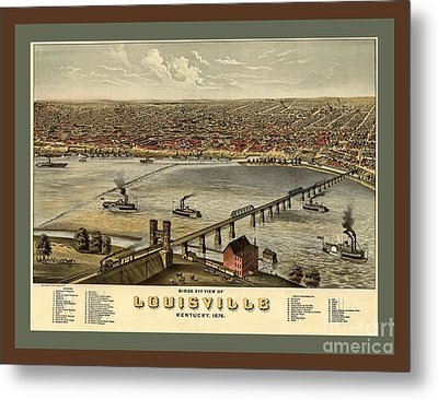 Old Collectable Poster Map Of Louisville Kentucky Metal Print by Pd
