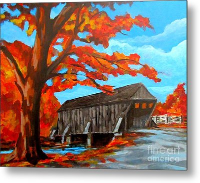 Old Covered Bridge In The Fall Metal Print by John Malone