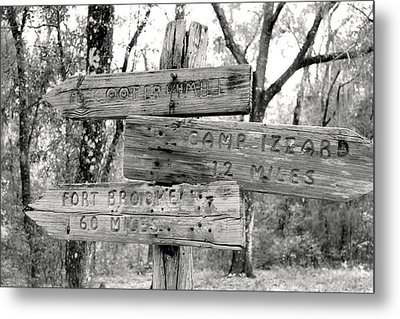 Old Directional Signs At Fort Cooper  Metal Print by Debra Forand
