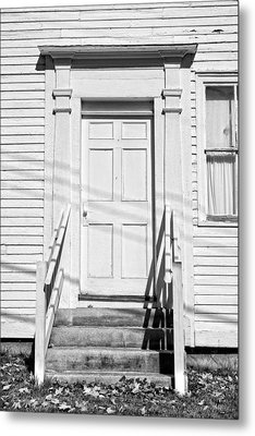 Old Door And Steps Black And White Photo Metal Print by Keith Webber Jr