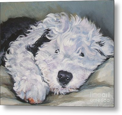 Old English Sheepdog Pup Metal Print by Lee Ann Shepard