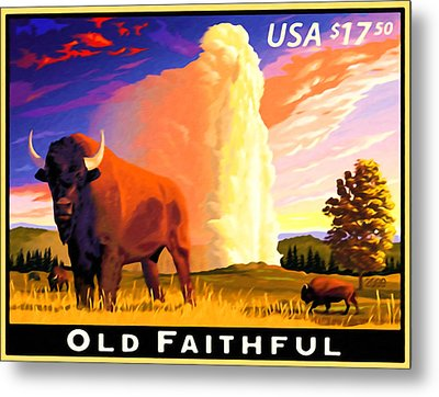 Old Faithful Yellowstone Metal Print by Lanjee Chee