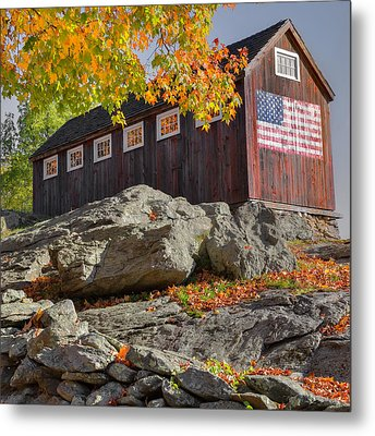 Old Glory Autumn Square Metal Print by Bill Wakeley