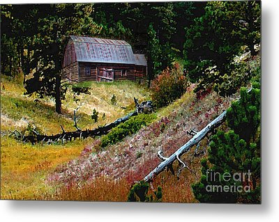 Old Horse Barn In The Draw Metal Print by Terril Heilman