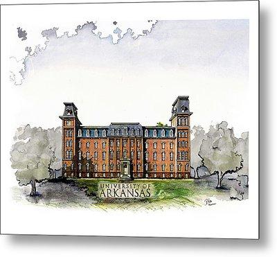 Old Main Of University Of Arkansas Diploma Size Metal Print by Yang Luo-Branch