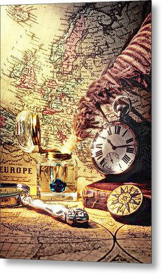 Old Maps And Ink Well Metal Print by Garry Gay