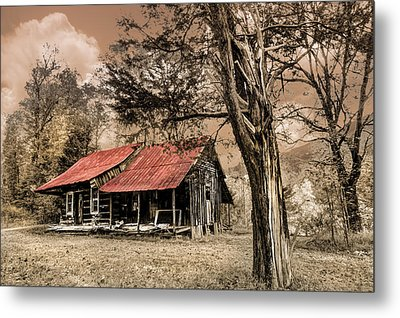 Old Mountain Cabin Metal Print by Debra and Dave Vanderlaan