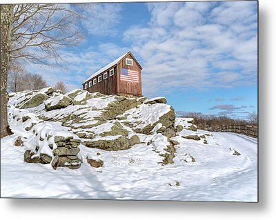 Old New England Barn In Winter Metal Print by Bill Wakeley