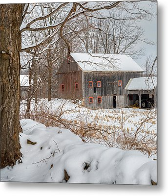 Old New England Winter 2016 Square Metal Print by Bill Wakeley