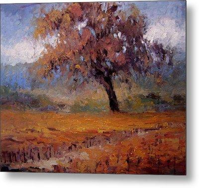 Old Oak Tree In The Vineyard Metal Print by R W Goetting