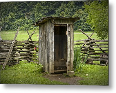 Old Outhouse On A Farm In The Smokey Mountains Metal Print by Randall Nyhof