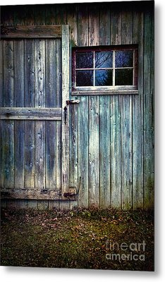 Old Shed Door With Spooky Shadow In Window Metal Print by Sandra Cunningham