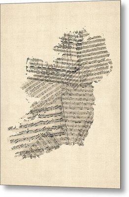 Old Sheet Music Map Of Ireland Map Metal Print by Michael Tompsett