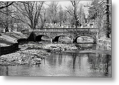 Old Stone Bridge In Black And White Metal Print by Kathleen Struckle